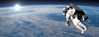 Sticker Astronaute ou le cosmonaute voler sur la terre - 3D render