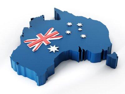 Sticker Australie carte et le drapeau