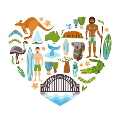 Sticker Australie Coeur
