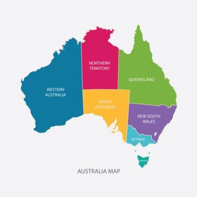 Sticker AUSTRALIE couleur de la carte avec les régions design plat illustration vectorielle