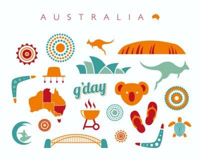 Sticker Australie, icône, ensemble - vecteur, Illustration