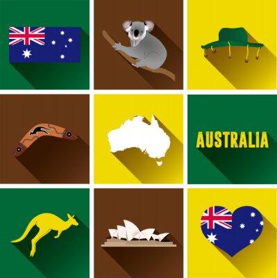 Sticker Australie Jeu d'icônes plat. Ensemble, vecteur, graphique, plat, icônes, représenter, repères, symboles ...