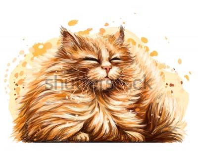 Sticker Autocollant mural. Le dessin coloré, artistique et artistique d'un joli chat duveteux plisse les yeux au soleil sur un fond blanc avec un spray d'aquarelle.