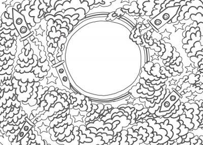 Sticker Autour de la Lune (illustration vectorielle)