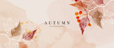 Sticker Autumn background design  with watercolor brush texture, Flower and botanical leaves watercolor hand drawing. Abstract art wallpaper design for wall arts, wedding and VIP invite card. vector eps10