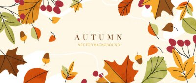 Sticker Autumn background vector. Autumn shopping event illustration wallpaper with hand drawn icons set. This design good for banner, sale poster, packaging background and greeting card.
