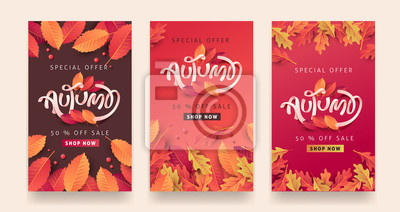 Sticker Autumn sale background layout decorate with leaves for shopping sale or promo poster and frame leaflet or web banner.Vector illustration template.