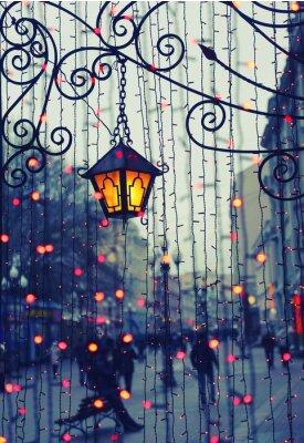 Sticker Avenue du soir avec des lumières