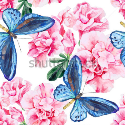 Sticker Azalée rose et papillons bleus. Sans soudure, motif aquarelle peint à la main. Fond de vecteur