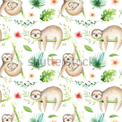 Sticker Baby animals sloth nursery isolated seamless pattern. Watercolor boho tropical drawing, child tropical drawing cute palm tree leaves, tropic green texture,exotic flower. Aloha backgraund