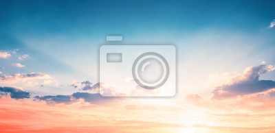 Sticker Background of colorful sky concept: Dramatic sunset with twilight color sky and clouds
