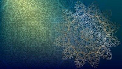 Sticker Background with golden mandalas, round indian pattern, muslim pattern