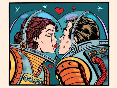 Sticker Baiser espace homme et femme astronautes
