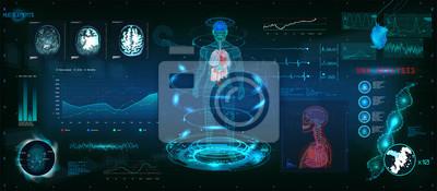 Sticker Balayage futuriste MRT dans la conception de style HUD, scan du corps humain, des organes et du cerveau avec des images. Éléments de haute technologie. Interface graphique virtuelle HUD avec illustrat