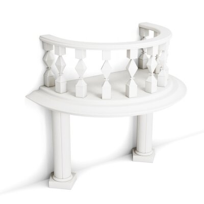 Sticker Balcon décoratif avec des colonnes isolées sur fond blanc. 3d rendu.
