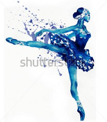 Sticker Ballerines dansante en bleu. Illustration d'aquarelles
