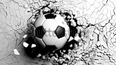 Sticker Ballon de football se brisant avec une grande force à travers un mur blanc. Illustration 3d