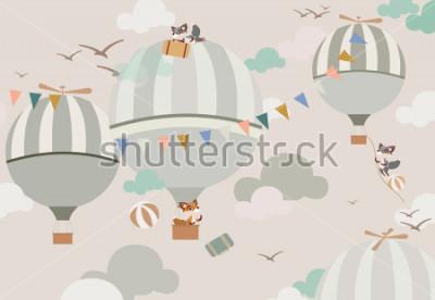 Sticker ballons dans le ciel aux renards dans les tons doux