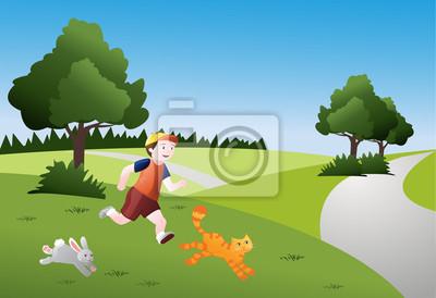 Bambino che corre con animali