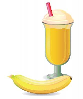 Sticker Banana bougé avec le vecteur de paille