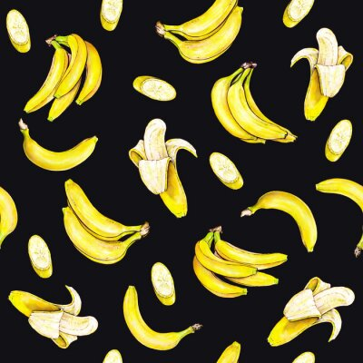 Bananas on black background. Seamless pattern. Watercolor illustration. Tropical fruit. Handwork