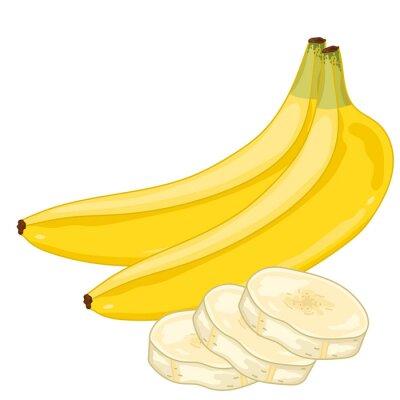Sticker Banane isolé sur fond blanc.
