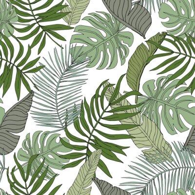 Sticker Banane verte, monstera, feuilles de palmier avec un fond blanc. Modèle sans couture de vecteur. Illustration de feuillage de jungle tropicale. Verdure de plantes exotiques. Design floral de plage d'ét