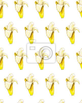 Bananes sur fond blanc. Seamless pattern. Illustration d'aquarelle. Fruits tropicaux. Artisanal