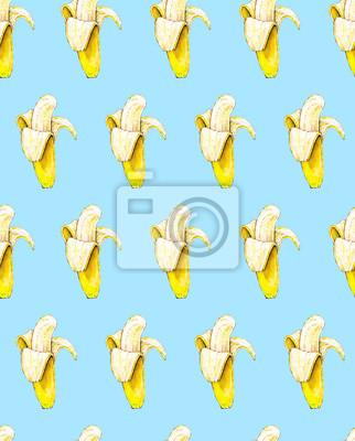 Bananes sur fond bleu. Seamless pattern. Illustration d'aquarelle. Fruits tropicaux. Handwork