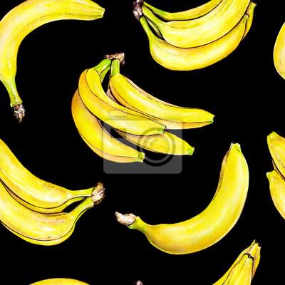 Bananes sur fond noir. Modèle sans soudure. Illustration d'aquarelle. Fruit exotique. Travail manuel