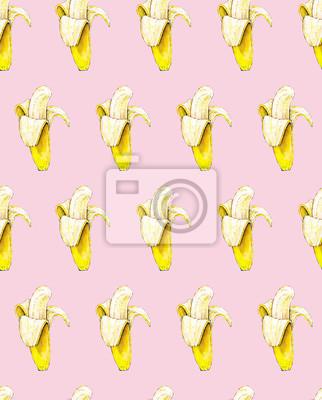 Bananes sur fond rose. Modèle sans soudure. Illustration d'aquarelle. Fruit exotique. Travail manuel