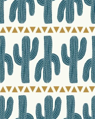 Sticker bande de cactus vecteur et triangles crème transparente motif de répétition