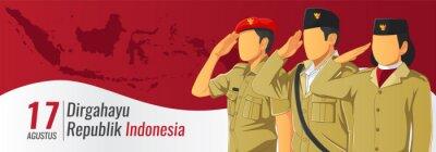 Sticker Banner hari kemerdekaan Republik Indonesia - translate Indonesian republic independence day banner