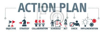 Sticker Bannière action plan concept vector illustration avec des mots-clés et des icônes