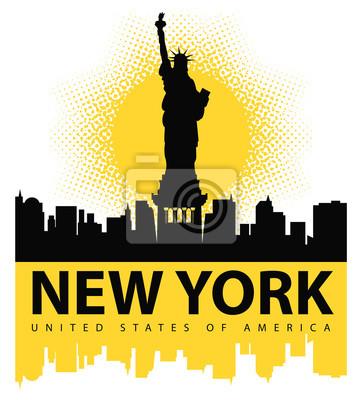 Sticker Bannière avec la Statue de la Liberté sur le fond de New York, et le soleil