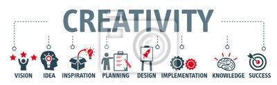 Sticker Bannière créativité concept illustration vectorielle