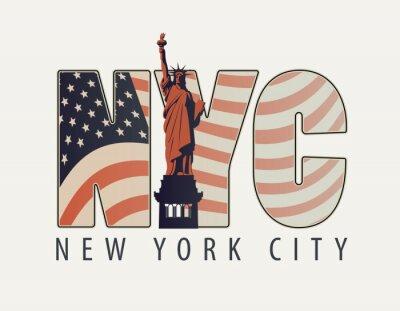 Sticker Bannière de vecteur avec les lettres NYC avec l'image du drapeau américain et la Statue de la Liberté sur fond clair