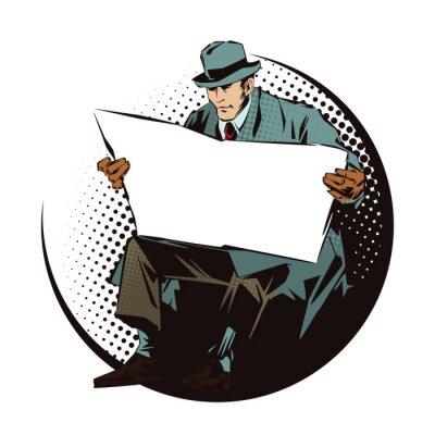 Sticker Banque d 'illustrations. Personnes dans le style rétro art de bruit et publicité vintage. Homme assis avec un journal. Journal pour votre texte.