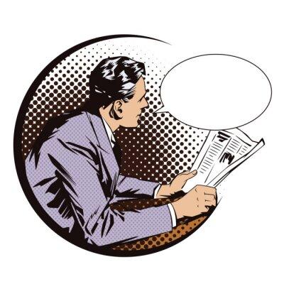 Sticker Banque d 'illustrations. Personnes dans le style rétro art de bruit et publicité vintage. Hommes avec le journal. Bulle.