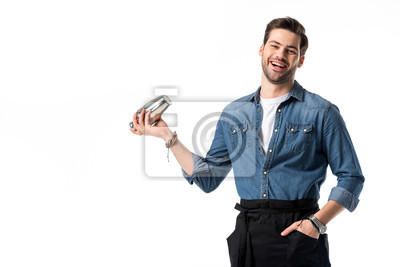 Sticker barman joyeux en tablier avec shaker en main isolé sur blanc