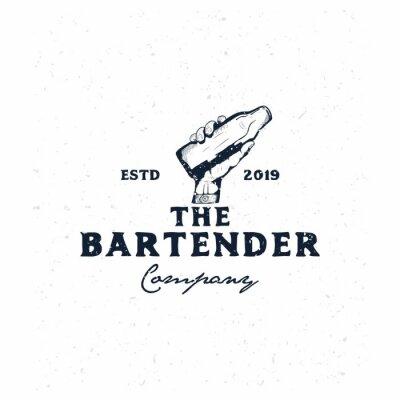 Sticker bartender vintage logo template,hand holding bottle hand drawn logo template
