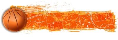 Sticker basket-ball blanc champ bannière