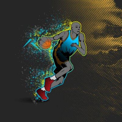 Sticker Basket-ball, joueur, dribble, balle