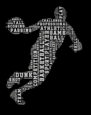 Sticker Basket-ball, joueur, mot, nuage, basket-ball, typographie ...