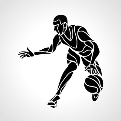 Sticker Basket-ball, joueur, résumé, silhouette