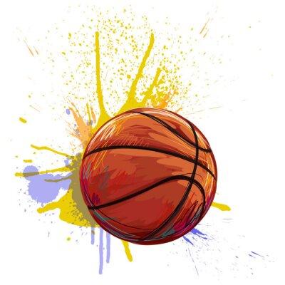 Sticker Basket créé par l'artiste professionnel. Cette illustration est créée par Wacom tabletby utilisant des textures grunge et brosses