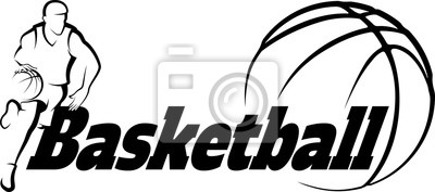 Sticker Basketball Drive to Basket with Stylized ball with word Basketba