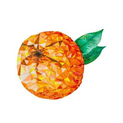 Sticker Basse poly aquarelle orange