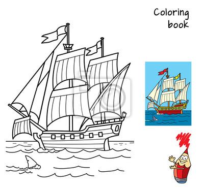 Bateau A Voile Livre De Coloriage Dessin Anime Vecteur Illustration Autocollants Murales Tache Coloration Passe Temps Myloview Fr