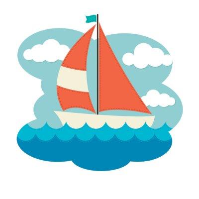Sticker Bateau à voile sur Waves